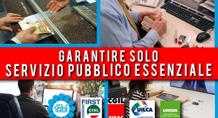 SINDACATI: IN BANCA GARANTIRE SOLO SERVIZIO PUBBLICO ESSENZIALE