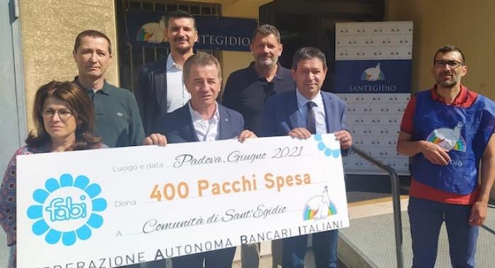 CORONAVIRUS: FABI PADOVA DONA 400 PACCHI SPESA ALLA COMUNITÀ DI SANT'EGIDIO